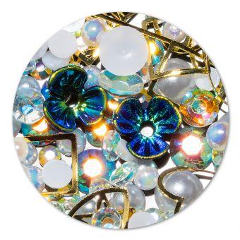 Ornament cristale, perlute si floare #12