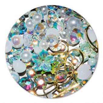 Ornament cristale, perlute si floare #3