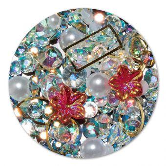Ornament cristale, perlute si floare #5
