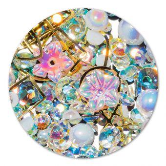 Ornament cristale, perlute si floare #9