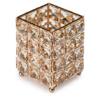 Suport pensule cu cristale patrate - Fashion Gold
