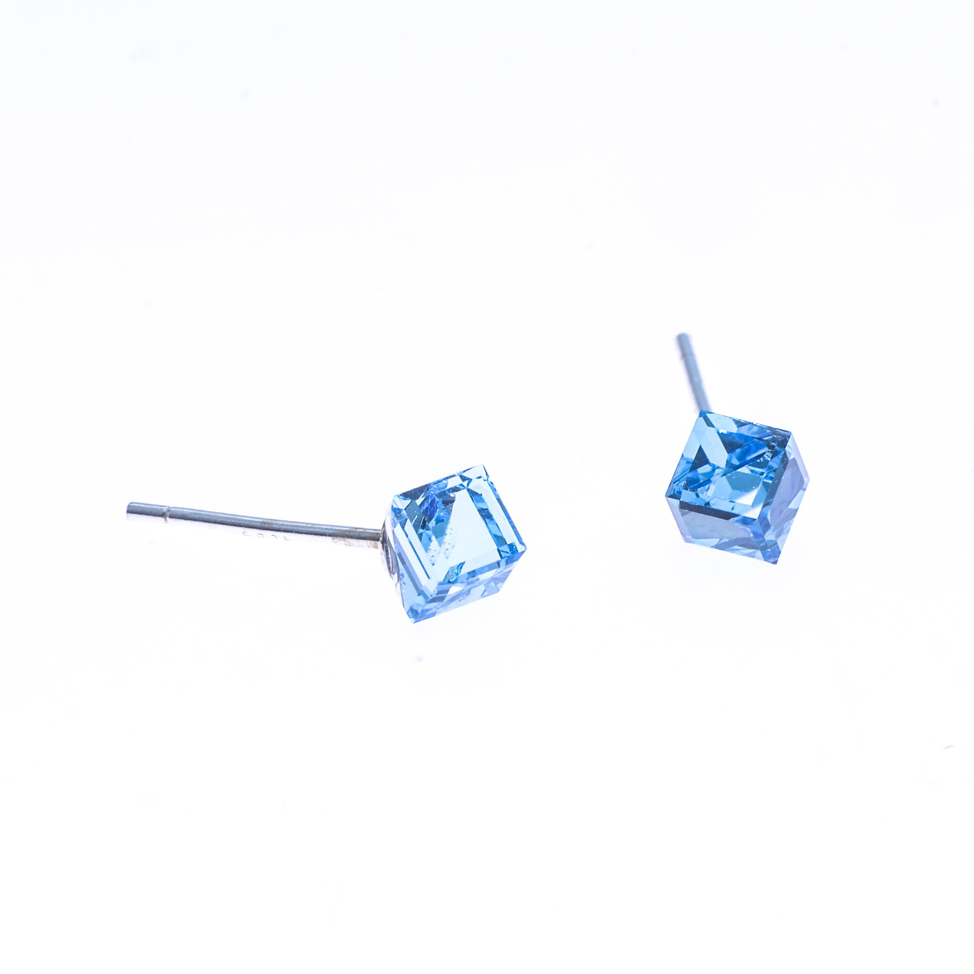 Cercei Swarovski Elements Blue Cube